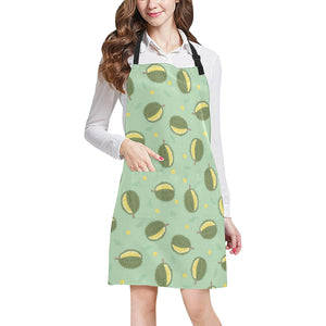 Durian Pattern Green Background Adjustable Apron