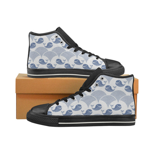 Whale Pattern Women's High Top Shoes Black Made In USA