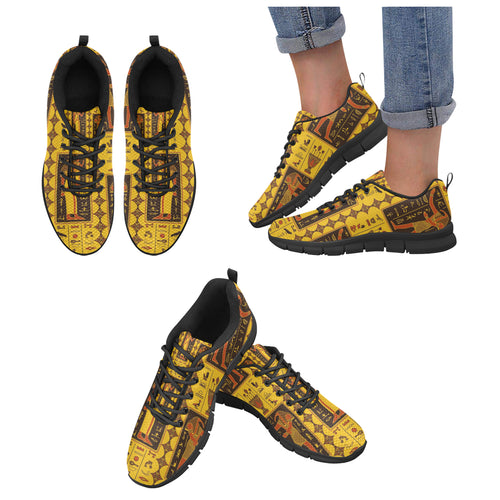 Egypt Hieroglyphics Pattern Print Design 01 Women's Sneakers Black