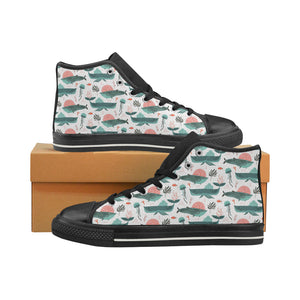 Whale Jelly Fish Pattern Women's High Top Shoes Black Made In USA