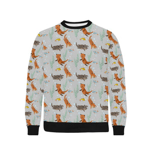 Swimming Fish Otter Pattern Men's Crew Neck Sweatshirt