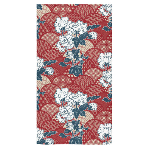 Red Theme Japanese Pattern Bath Towel