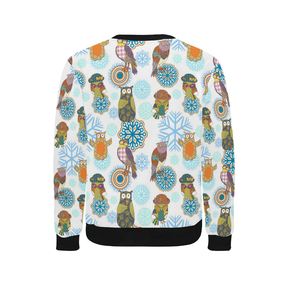 Owl Pattern Men's Crew Neck Sweatshirt