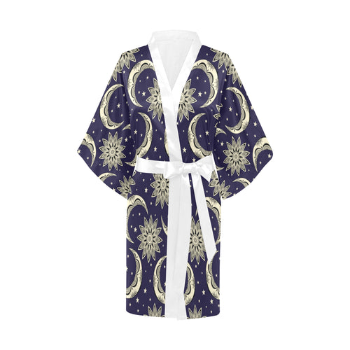 Moon Tribal Pattern Women's Short Kimono Robe