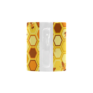 Bee and Honeycomb Pattern Classical White Mug (FulFilled In US)