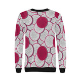 Sliced Dragon Fruit Pattern Women's Crew Neck Sweatshirt