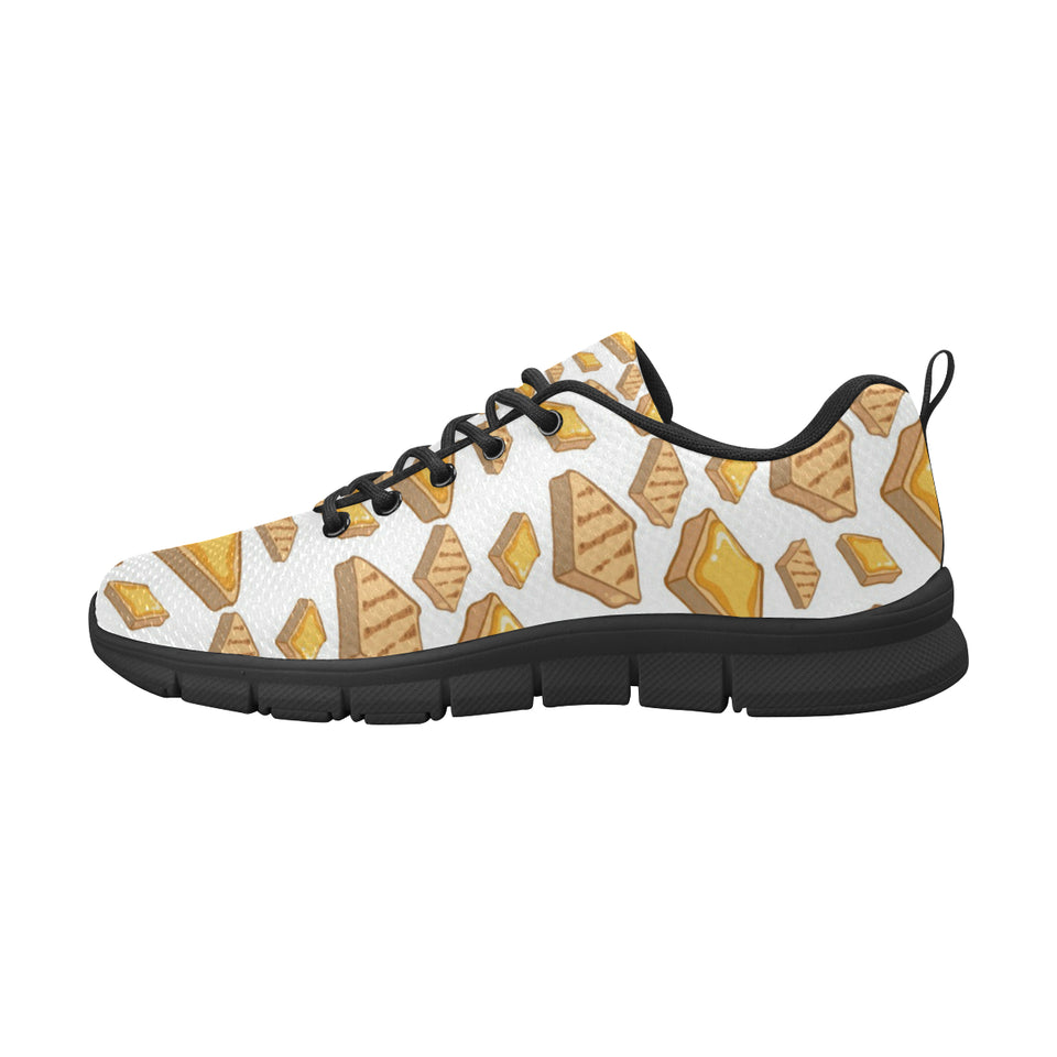 Bread Toast Pattern Print Design 03 Women's Sneakers Black