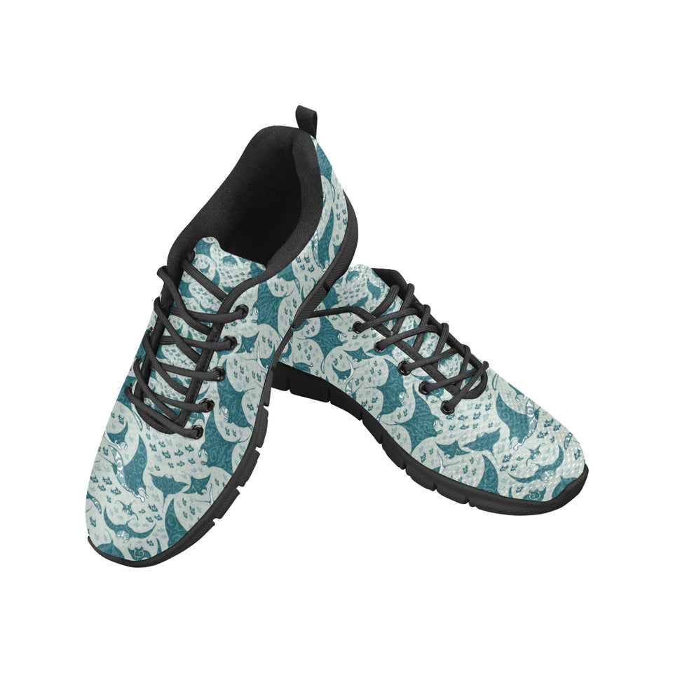 Stingray Pattern Print Design 01 Men's Sneakers Black