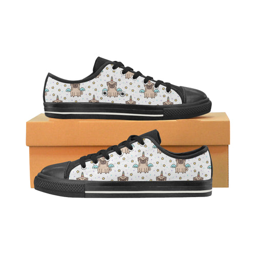 Unicorn Pug Pattern Men's Low Top Canvas Shoes Black