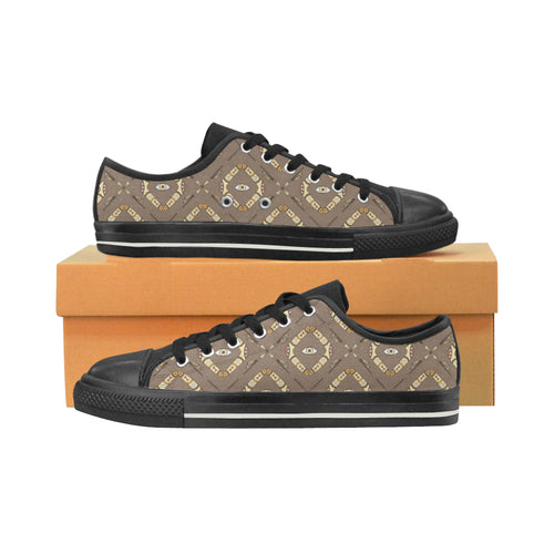 Traditional Boomerang Aboriginal Pattern Men's Low Top Canvas Shoes Black