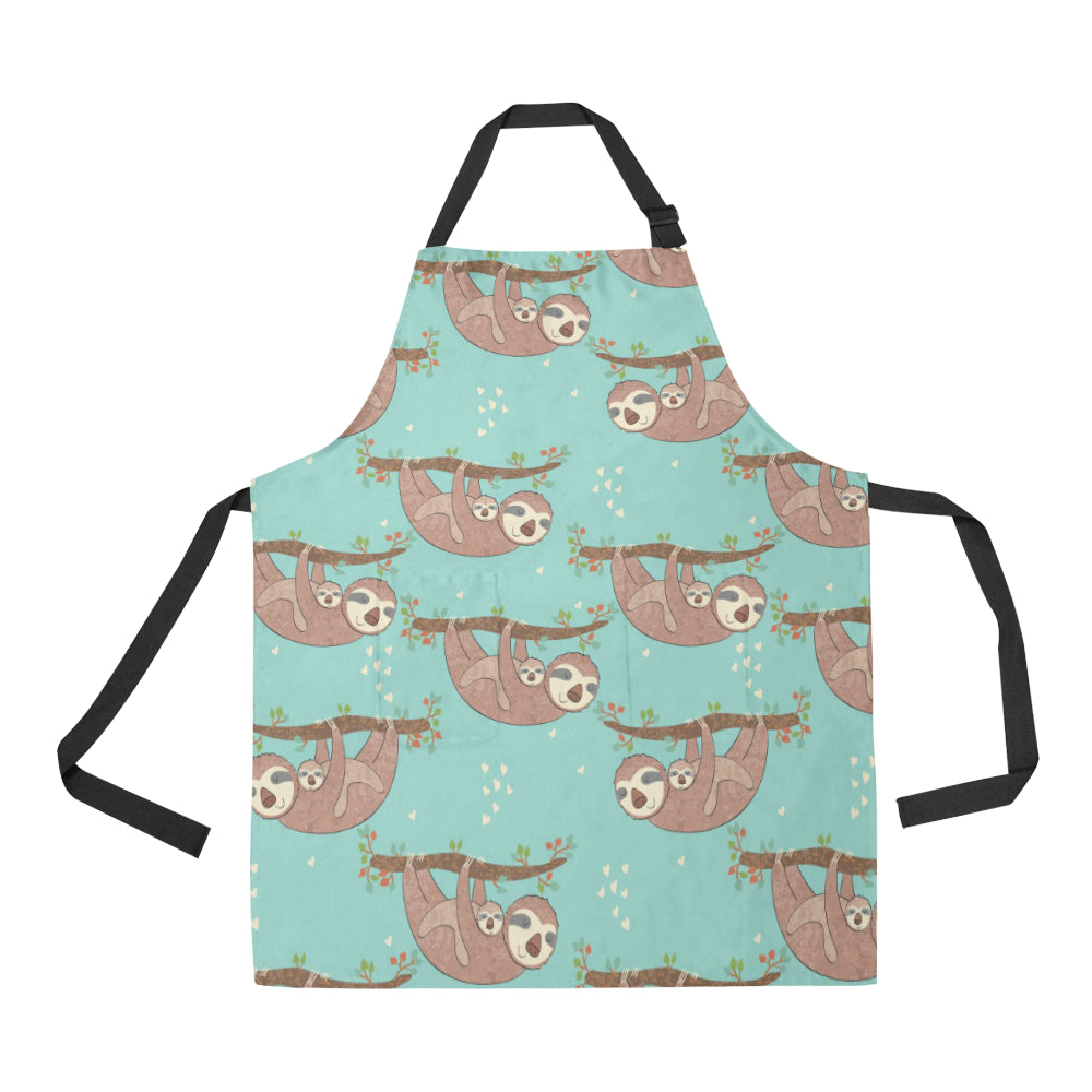 Sloth Mom and baby Pattern Adjustable Apron