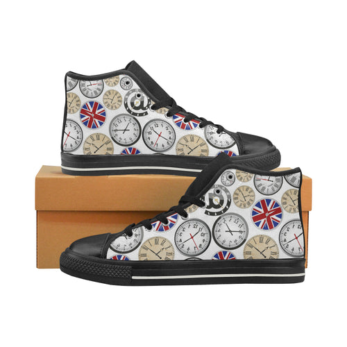 Wall Clock UK Pattern Women's High Top Shoes Black Made In USA