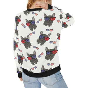 French Bulldog Sunglass Pattern Women's Crew Neck Sweatshirt