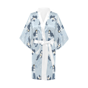 Mermaid Dolphin Pattern Women's Short Kimono Robe