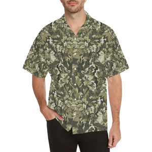 Green Camo Camouflage Flower Pattern Men's All Over Print Hawaiian Shirt