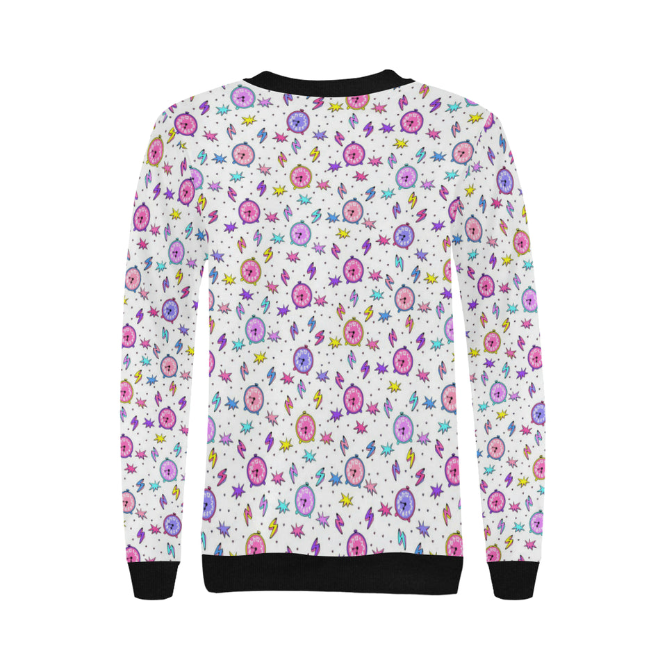 Alarm Clock Pattern Women's Crew Neck Sweatshirt