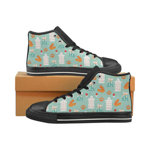 Windmill Pattern Theme Women's High Top Shoes Black Made In USA