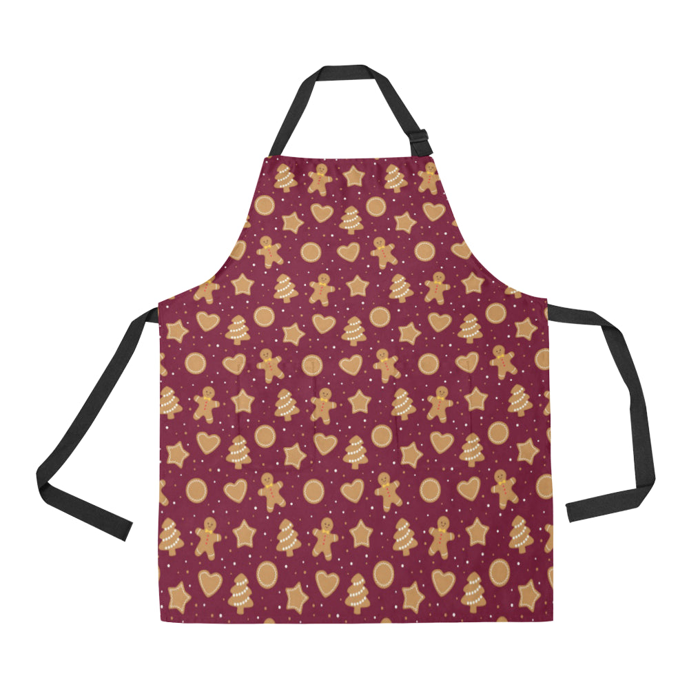 Christmas Ginger Cookie Pattern Background Adjustable Apron