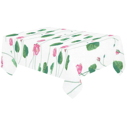 Pink Lotus Waterlily Flower Pattern Tablecloth