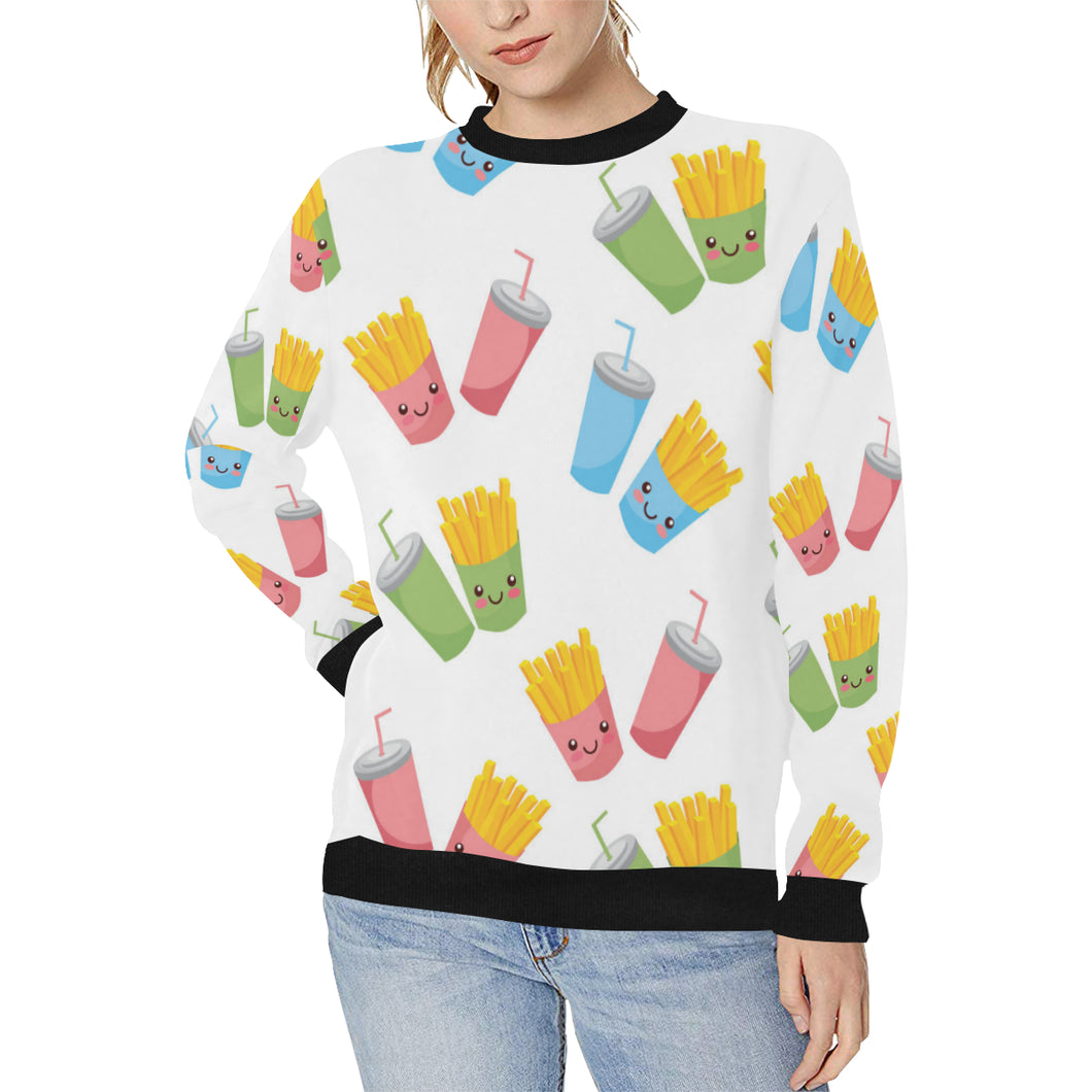 Colorful French Fries Pattern Women's Crew Neck Sweatshirt