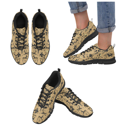 Egypt Hieroglyphics Pattern Print Design 02 Women's Sneakers Black