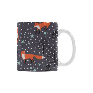 Fox Snow Winter Pattern Classical White Mug (FulFilled In US)