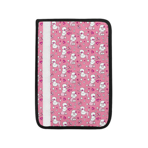 Poodle Pink Heart Pattern Car Seat Belt Cover