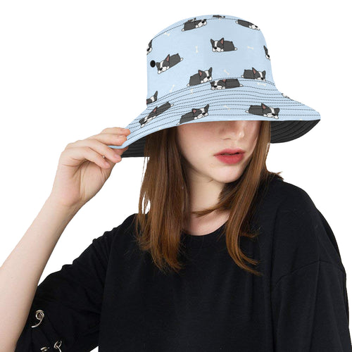 Sleep Boston Terrier Bone Pattern Unisex Bucket Hat
