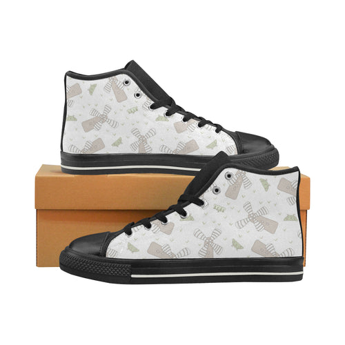Windmill Pattern Background Women's High Top Shoes Black Made In USA