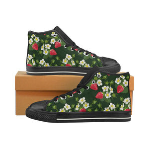 Strawberry Pattern Background Women's High Top Shoes Black Made In USA