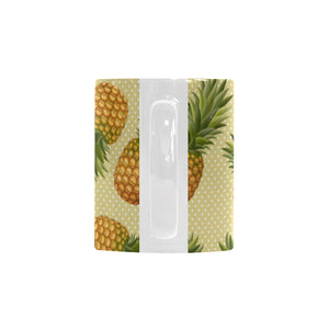 Pineapple Pattern Pokka Dot Background Classical White Mug (FulFilled In US)