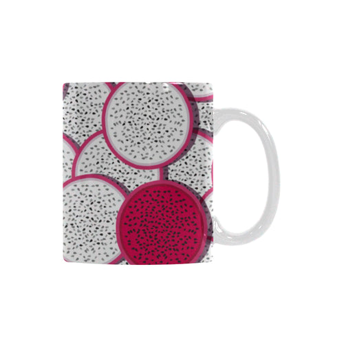 Sliced Dragon Fruit Pattern Classical White Mug (FulFilled In US)