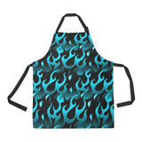 Blue Flame Fire Pattern Background Adjustable Apron