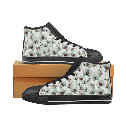 White Orchid Pattern Women's High Top Shoes Black Made In USA