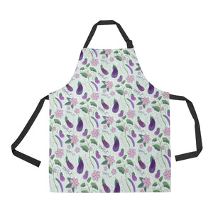 Eggplant Pattern Print Design 03 Adjustable Apron