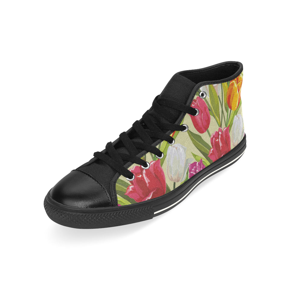 Colorful Tulip Pattern Men's High Top Shoes Black (FulFilled In US)