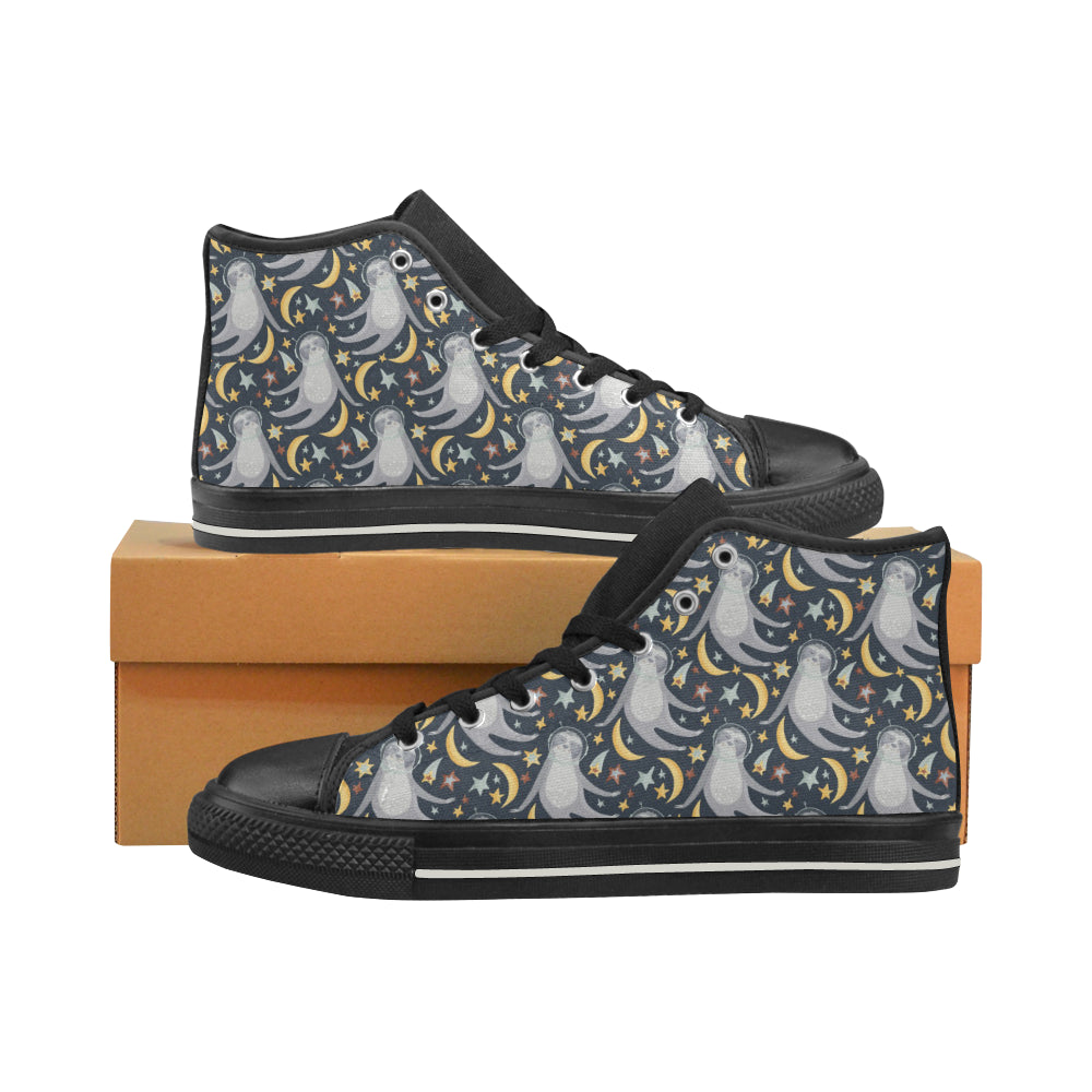 Sloth Astronaut Pattern Women's High Top Shoes Black
