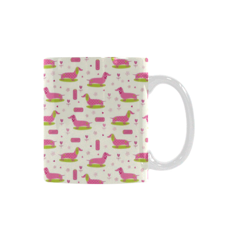 Pink Dachshund Pattern Classical White Mug (FulFilled In US)
