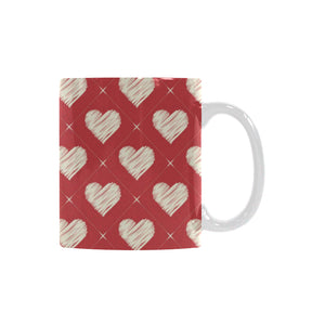 Heart Red Pattern Classical White Mug (FulFilled In US)