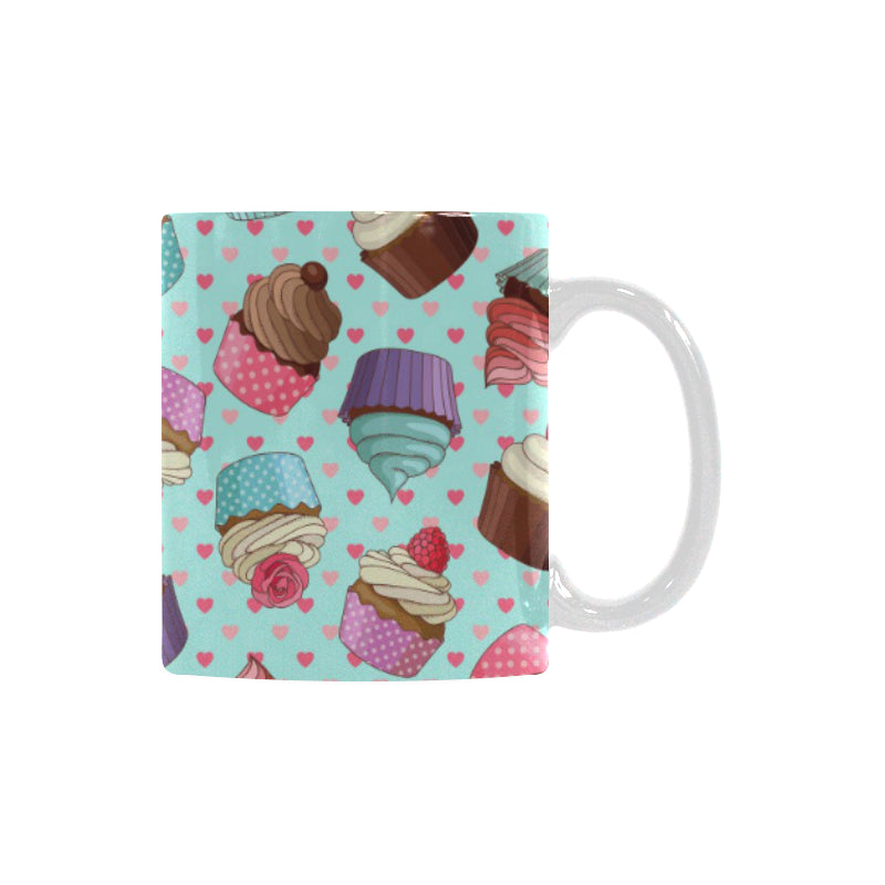 Cup Cake Heart Pattern Classical White Mug (FulFilled In US)