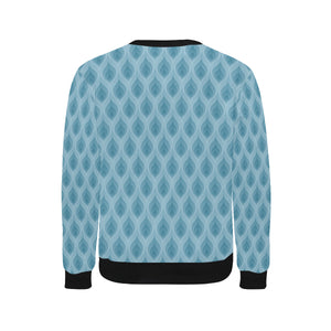 Blue Flame Fire Pattern Men's Crew Neck Sweatshirt