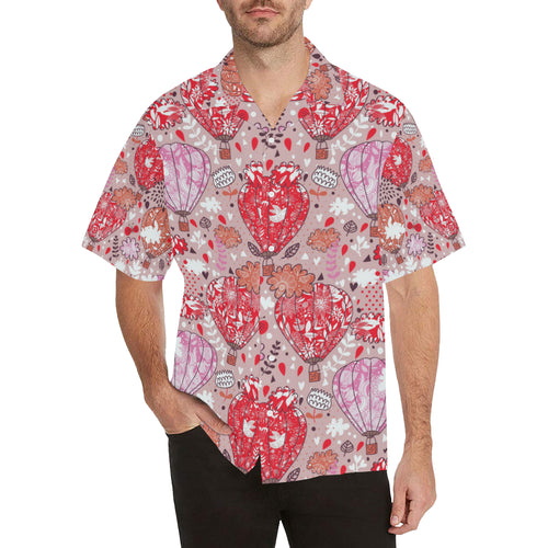Red Pink Hot Air Balloon Pattern Men's All Over Print Hawaiian Shirt