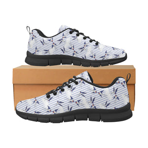 Swallow Pattern Print Design 03 Women's Sneakers Black