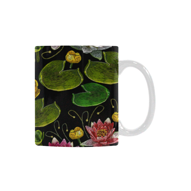 Lotus Waterlily Flower Pattern Background Classical White Mug (FulFilled In US)