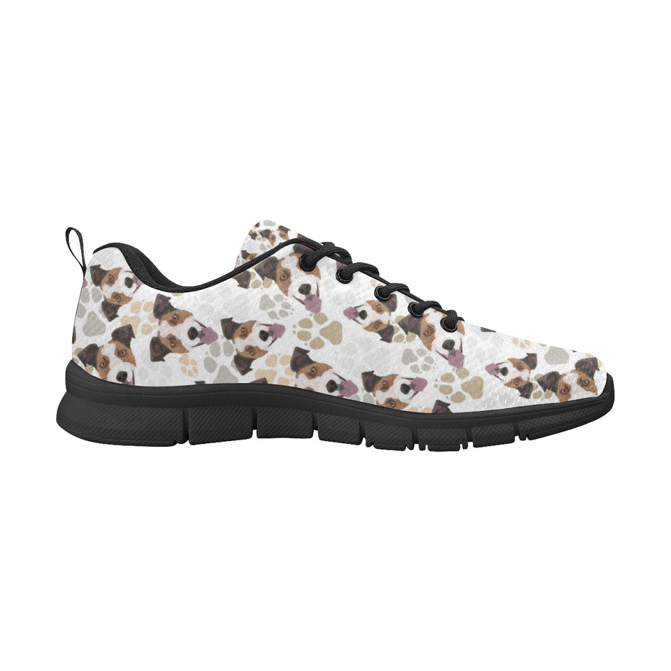 Jack Russel Pattern Print Design 05 Women's Sneakers Black