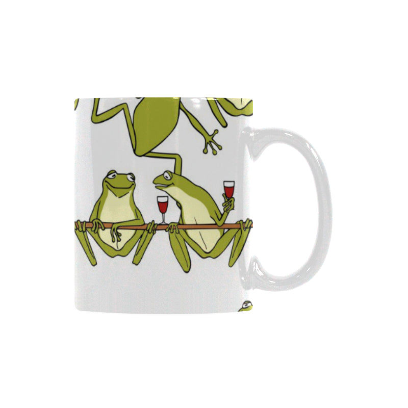 Frog drunk Pattern Classical White Mug (FulFilled In US)