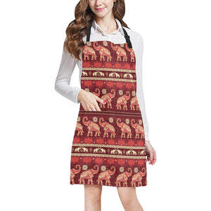 Elephant Red Pattern Ethnic Motifs Adjustable Apron