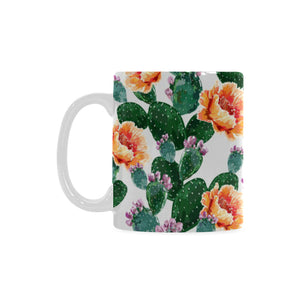 Cactus and Flower Pattern Classical White Mug (FulFilled In US)