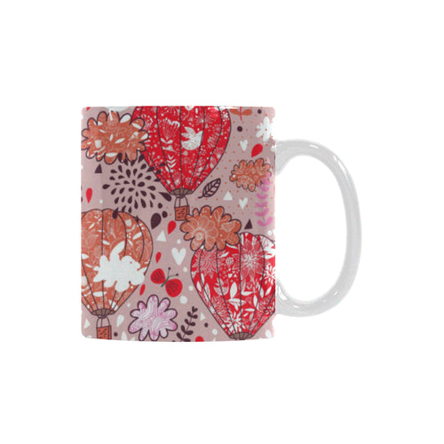 Red Pink Hot Air Balloon Pattern Classical White Mug (FulFilled In US)