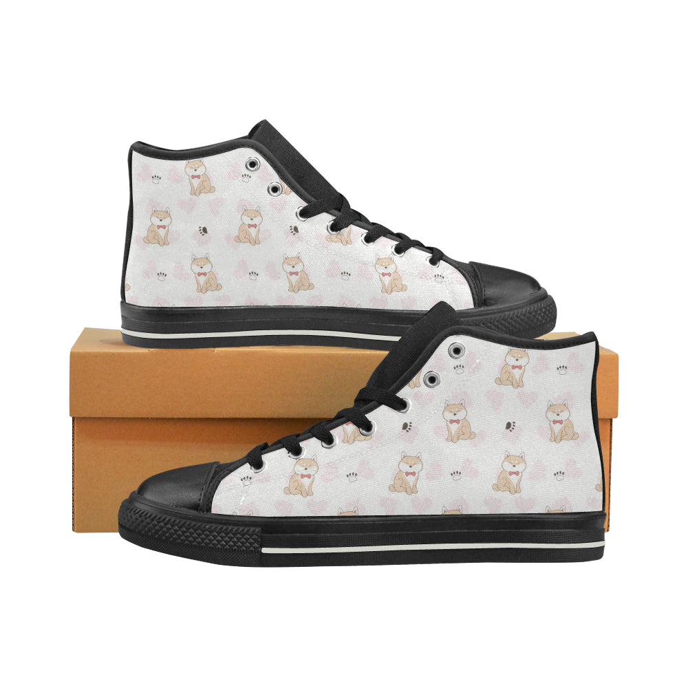 Cute Shiba Inu Heart Pattern Men's High Top Shoes Black (FulFilled In US)
